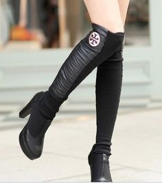 ECOSCO Women Fashion Leather Cotton inset sock wrap Knitting patchwork Leisure boot shoe wrap socks BLACK by ECOSCO Leggings