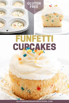 Festive homemade gluten free Funfetti cupcakes with fluffy buttercream frosting are the perfect way to make anything a celebration. Small batch can easily be doubled. Gluten Free Cupcakes, Gluten Free Desserts, Gluten Free Recipes, Buttercream Frosting For Cupcakes, Cake Recipes, Dessert Recipes, Gluten Free Baking, Yummy Treats, Cupcake Cakes