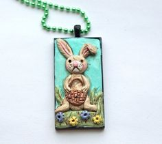 SPRING Easter Bunny Necklace made from by indigotwinholiday, $25.00