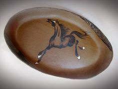 Stoneware horse platter with prosperity horse and wave texture accents by Tracie Griffith Tso of Reston, Va. Animal Symbolism, Year Of The Horse, Lunar New, Chinese Painting, Silk Painting, Platter, Stoneware, Wave, Paintings