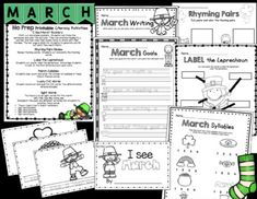 Kindergarten NO PREP March Ready To Teach Math and Literac