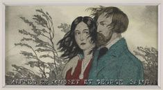 Alfred de Musset et George Sand Marty André-Edouard (1882-1974) George Sand, Fashion Art, Brown Paper, Drawings, Cosmos, Pastels, Writers, Books, Literatura