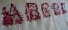 toile de jouy lettera E dalla a alla e