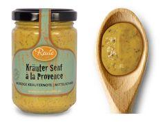Kräuter Senf á la Provence - würzige Kräuternote   mittelscharf  Eine feine Komposition aus französischen Kräutern und mittelscharfem Senf. Hervorragend zu Wildgerichten, deftiger Wurst und zu Grillgut.