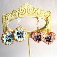 Alice in Wonderland Eat Me Cake Earrings by FatallyFeminine, $25.00