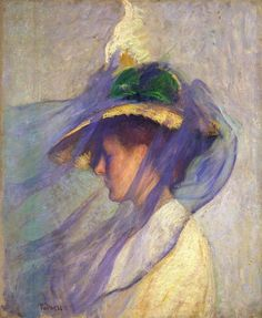 my-ear-trumpet:    spanghew:    stellar-raven:    The Blue Veil (1899) by Edmund Tarbell.