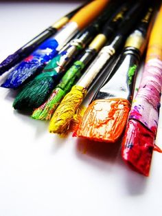 Over the rainbow paint brushes World Of Color, Color Of Life, Rainbow Painting, Fuchsia, Over The Rainbow, Paint Brushes, Rainbow Colors, Rainbow Art, All The Colors