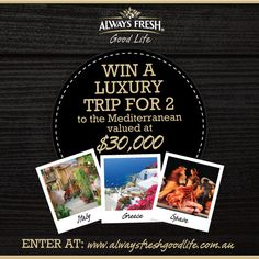 Win a trip to the Mediterranean! My childhood dream of going to holiday in Italy. I would so luv to go. Competitions Australia, The Places Youll Go, Places To Go, Create Button, Italian Foods, Win A Trip, Mediterranean Recipes, 30th Birthday, I Love Food