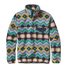 Patagonia Women's Lightweight Synchilla Snap-T Pullover- Timber Twist Navy Blue