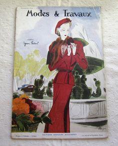 Vintage Magazine French 1930's Modes et Travaux no. 413 by Mrsdepew, $55.00