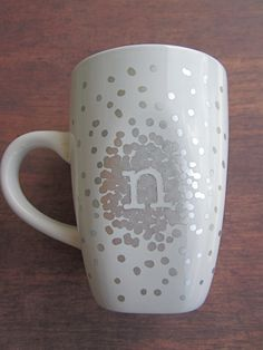 Carry Your Heart Polka Dot Mug - Letter N, Silver, Hand Painted, Violet Heart