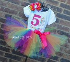 Rainbow Unicorn Cutie Birthday Tutu Outfit...www.ticklemytutu.com