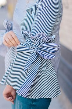 RD's Obsessions: Bell Sleeves & Bows || Flared Sleeves || Striped Top || hem jeans || lace up sandals || wedged lace sandals || Spring Trends || Spring Fashion || Spring Style