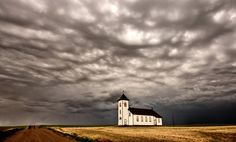 🇨🇦 Storm Church (Saskatchewan) by Mark Duffy on 💨 Cool Pictures, Cool Photos, Vash, Duffy, Mindfulness, Clouds, Sky, Exterior, World