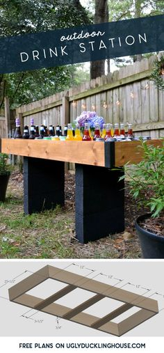 Outdoor drink stations aren't just for weddings anymore! Get free plans for this beverage party bar #rustic #partyplanning #wedding #outdoor #diy #party #cocktails #woodworking #freeplans