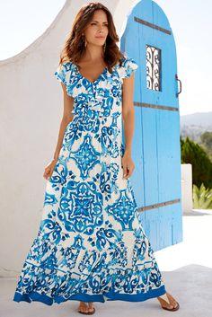 a25944dfa2 Resort Wear | Women's Blue Tile Maxi Dress. Light Blue Dresses, Blue And  White