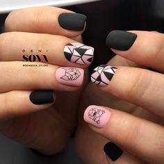 15 Awesome Geometric Nail Art Designs You Will Fall in Love with - Complex geometric nail art Creative Nail Designs, Creative Nails, Pretty Nail Designs, Nail Art Designs, Trendy Nail Art, Stylish Nails, Cute Acrylic Nails, Cute Nails, Natural Gel Nails