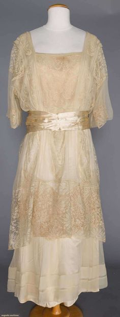 Evening Gown (image 1) | 1914 | silk, lace | Augusta Auctions | November 16, 2016