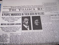 The Villisca Axe Murders occurred during the night of June 9-10, 1912 in the southwestern Iowa town of Villisca. The six members of the Moore family and two house guests were found bludgeoned in the Moore residence. All eight victims, including six children, had severe head wounds from an axe. A lengthy investigation yielded several suspects, one of which was tried twice and acquitted. The crime remains unsolved.