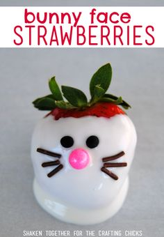Bunny Face Strawberries! Dip bright ripe strawberries in white chocolate and create sweet faces with sprinkles! This is the cutest Easter dessert!