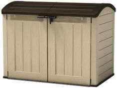 Keter Store-It Out Ultra Outdoor Plastic Garden Storage Bike Shed, Beige and Brown, 177 x 113 x 134 cm Garbage Can Storage, Garbage Shed, Smart Storage, Home Depot, Garden Storage Shed, Storage Sheds, Outside Storage, Outdoor Storage, Plastic Sheds
