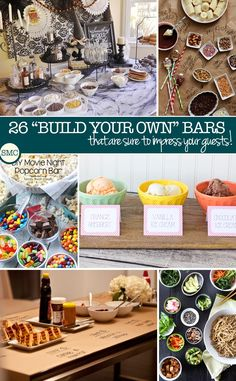26 Build Your Own Food Bar Ideas Perfect for Parties, Showers, and Even Family Movie Nights! Love these food bar ideas – perfect for a kid's birthday party that has the wow factor! Build Your Own Bar, Party Food Bars, Tapas, Do It Yourself Wedding, Food Stations, Party Stations, Bar Ideas, Food Ideas, Buffet Ideas