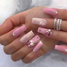 That Will Motivate You Beautiful Nails Elegant Nailart 30 - US Makeup Trends Cute Acrylic Nails, Acrylic Nail Designs, Glitter Nails, Fun Nails, Nail Art Designs, Nails Design, Pink Glitter, Design Art, Pink Sparkle Nails