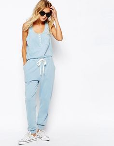 Image 4 of ASOS Jersey Jumpsuit with Button Detail and Tie Waist