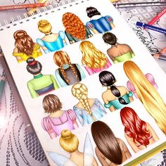 colour_me_creative: DISNEY HAIR  Double-tap your favourite hairstyle ! The order goes 'Belle, Cinderella, Merida, Snow white, Mulan, Anna, Aurora, Tiana, Rapunzel (short hair) Elsa, Jasmine, Rapunzel (long hair) Tinkerbell, Pocahontas and Ariel'  Also doing a follower drawing next so get your photos hashtagged to #drawmekristina asap if you want to possibly be drawn! ☺️-@kristinawebb