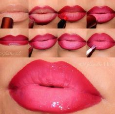 Wow! Just blending two colours on the lip gives this gorgeous dramatic effect. Beautiful.
