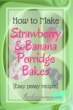 Strawberry and banana porridge bakes are a perfect breakfast option. Suitable for all ages & baby led weaning. A great alternative to a bowl of porridge. Baby Led Weaning Breakfast, Baby Breakfast, Baby Weaning, Weaning Toddler, Breakfast Recipes, Breakfast Ideas, Strawberry Baby, Strawberry Recipes, Pureed Food Recipes