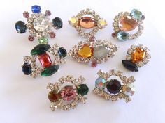 Czech Glass Buttons Buttons Set of 8 Rhinestone by CrimsonVintique, $38.00