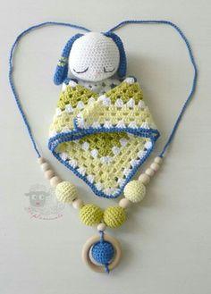 Safety blanket and teething-nursing-babywearing necklace.  Www.mpleximata.etsy.com