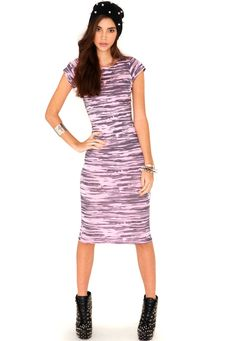 Lenny Cap Sleeve Printed Midi Dress In Candy Pink