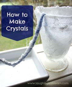 How to make crystals: To make crystals all you need is -  * 2 x jars or glasses * String or wool (as long as your arm) * 2 x paper clips * Very warm water * Bi-Carb soda or baking soda * Spoon