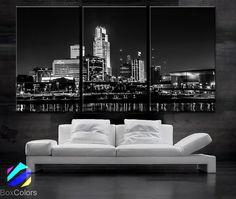 "LARGE 30""x 60"" 3 Panels Art Canvas Print beautiful Omaha Nebraska skyline Black & White Wall Home decor (Included framed 1.5"" depth)"