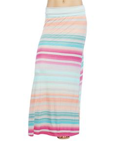 "Fun, fresh, and totally cute maxi skirt features a soft and stretchy lightweight knit body with a colorful striped pattern, and a wide foldover waist band.  Model is 5'9"" and wears a size small   	40"" from folded waist to hem. 	95% Rayon / 5% Spandex 	Hand Wash 	Imported"