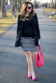 Navy Striped Pencil Skirt, Fuchsia Pumps, Trench Coat, Maternity Style, Maternity Fashion