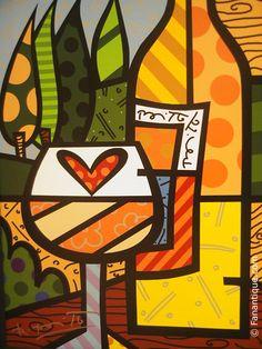 painted+canvas+winery   Romero Britto, Wine wine yellow 2006, pop art, print on canvas, modern ...