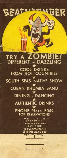 A vintage Zombie matchbook image from Monte Proser's Beachcomber restaurant in Baltimore Tiki Art, Tiki Tiki, Bamboo Bar, Tiki Decor, Tiki Lounge, Jungle Room, Vintage Tiki, Backyard Bar, Tiki Room