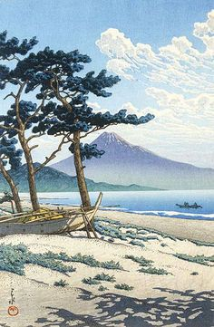 hanga gallery . . . torii gallery: Pines at Miho Seashore by Kawase Hasui. Hasui Kawase was a prominent Japanese painter of the late 19th and early 20th centuries, and one of the chief printmakers in the shin-hanga movement. Kawase studied ukiyo-e and Japanese style painting at the studio of Kiyokata Kaburagi