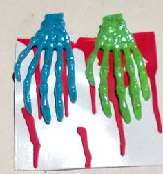 "Zombie Skeleton Hand Barrettes Blue & Green Glitter Hair Clip 3"" Set of Two #Handmade #Barrette"