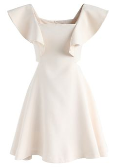 Dance with Sweet Ruffled Dress in Cream - DRESS - Retro, Indie and Unique Fashion White Going Out Dresses, Pretty Dresses, Unique Fashion, Fashion Fashion, Cream Cocktail Dresses, Halter Neck Maxi Dress, Chiffon Dress, White Ruffle Dress, Pink Dress