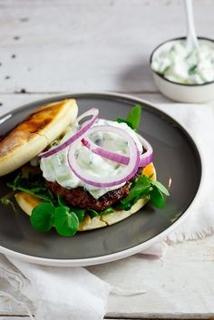 Curried Lamb burgers on naan bread with cucumber raita - make with beef or chicken instead of lamb