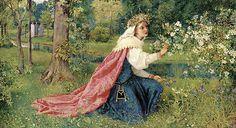 "George Dunlop Leslie (English, 1835-1921), ""Matilda - Dante, Purgatorio, Canto 28"""