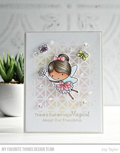 Fairy Happy stamp set and Die-namics, Framework Stencil - Joy Taylor #mftstamps