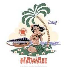 """""""Ukulele Girl Hawaii"""" T-shirt illustration #ukulele #girl #palm #tree #outrigger #canoe #Diamond #Head #Hawaii #illustration"""