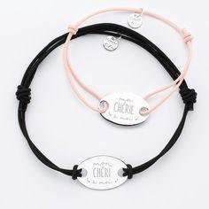 abb275c85c6 Duo de bracelets personnalisés médailles gravée argent ovale 2 trous 25x16  mm