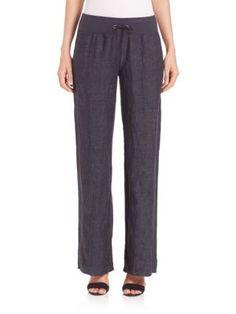 Eileen Fisher - Organic Linen Delave Wide-Leg Pants