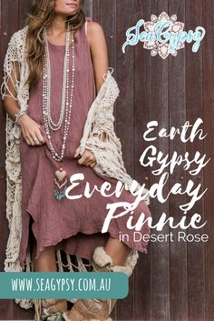 Earth Gypsy Everyday Pinnie. This easy little pinnie dress is so comfy  to wear, has super handy deep pockets, and will match everything you  own. It is the most versatile pinnie/dress/jumper/tunic you will ever  have. It looks cute layered or on its own, so you'll be cozy no matter  the weather.  boho | laagenlook | gypsy | hippie | beach | mori girl | crochet | tribal heart | beach accessory | pearls Bohemian Dresses, Boho Outfits, Tribal Heart, Style Me, Cool Style, Moon Dust, Pretty Hands, Mori Girl, Boho Fashion